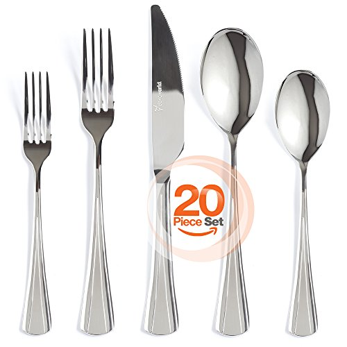 Silverware Set 20-Piece 18/10 Stainless Steel Flatware Set Mirror Polished Elegant Eating Utensil For 4 People Include Dessert Forks - Knife - Dinner Fork and Spoon Extra Thick - Dishwasher (10 Stainless Dinner)