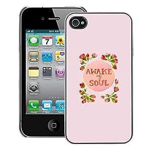 A-type Arte & diseño plástico duro Fundas Cover Cubre Hard Case Cover para iPhone 4 / 4S (Awake Soul Inspiring Spring Flowers Peach)