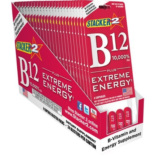 - B12 Extreme Energy + Stacker 2 10,000% RDA - (24) Four Count Blister Pks by Stacker