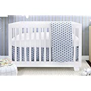 BOOBEYEH & DESIGN Baby Crib Bedding for Girls and Boys, Blue and White Waddle Sky Drake Design, 4-Piece Set Includes Fitted Sheet, Crib Comforter, Comforter Cover, Skirt