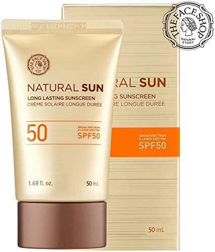 [THEFACESHOP] Natural Sun Long Lasting Sunscreen Broad Spectrum SPF 50 UVB Protection (50 ML / 1.69 FL.OZ)