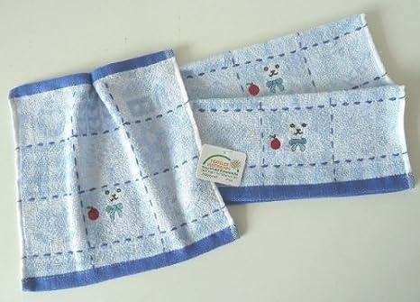Toallas de serie bordado con diseño de osito de peluche, toalla de 27 x 27 cm, colour azul claro: Amazon.es: Hogar
