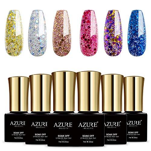 6pcs UV Led Gel Nail Polish Set - Gorgeous Colors Glitter Gel Polish Nail Art Gift Box