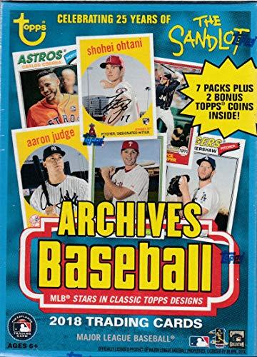2018 Topps Archives Baseball Blaster Box (8 Packs/8 Cards, 2 Coin Inserts) (2018 Baseball Coin)