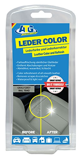 ATG leather-color incl. sponge and brush - Removes scratches, abrasions and scuffs in all leather furniture around the car and motorcycle - suitable for color refreshing - Grey (Couch Leather Paint Spray For)
