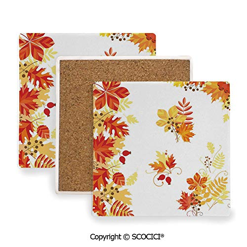Ceramic coaster With wood Bottom Protection, For Mugs, Wine Glasses, Protects Furniture Square,Fall,Autumn Themed Pattern Chestnut Oak Maple Leaves and,3.9