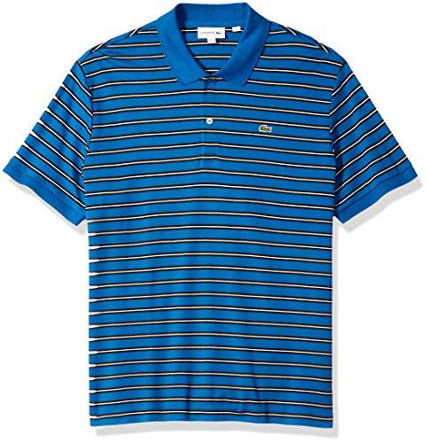 Stripe Short Fine (Lacoste Men's Short Sleeve PIMA REG FIT FINE Stripe Polo, Electric/Meridian Blue, Medium)