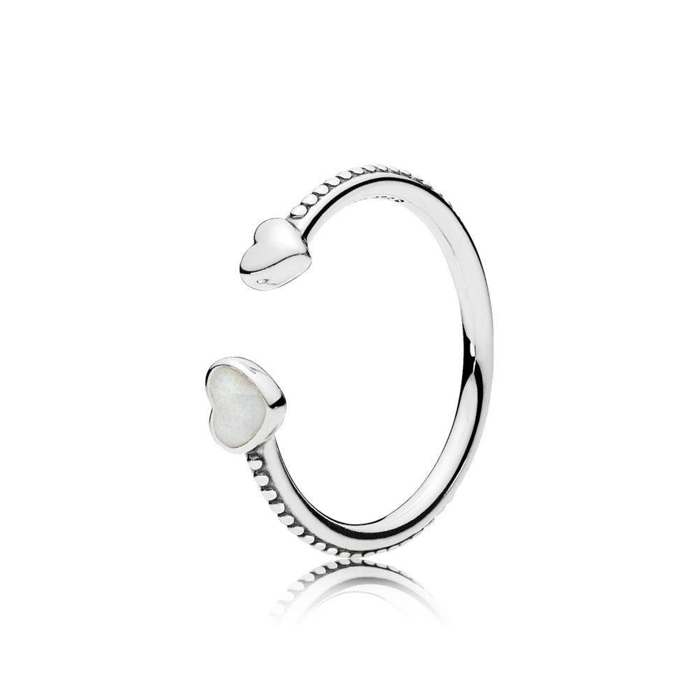 8b1cdf1b4408b Amazon.com: PANDORA Hearts of Love Ring, Silver Enamel 191045EN23-56 ...