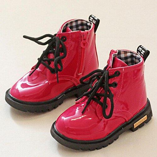 HUHU833 Kinder Mode Mädchen Stiefel, Martin Stiefel, Martin Sneaker Winter Baby Aufladungen beiläufige Kind Aufladungen Rot