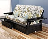 Phoenix Futon in Black with English Garden Mattress