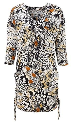 Túnica larga con bolsillos para mujer en tonos negros y naranjas, tallas grandes 50–�?6 cm black rust mustard