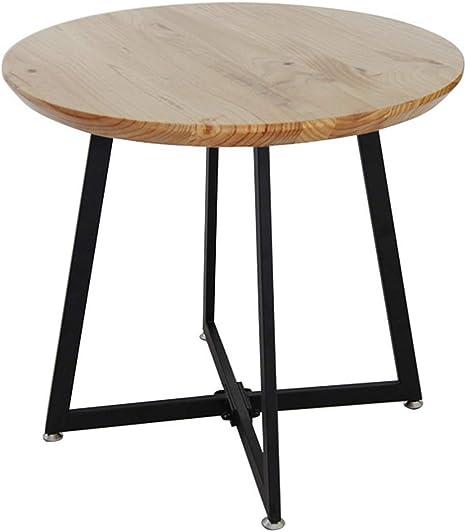 Table Basse Ronde en Bois Massif/Table d\'appoint en Fer ...
