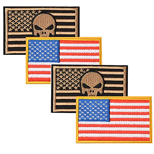 Harsgs USA Flag Patches Bundle, Hook & Loop Tactical Morale Patch Full Embroidery Military Patch for Caps Bags Vests Military Uniforms,Pack of 4, Khaki