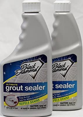 Black Diamond Ultimate Grout Sealer Set of 2 Pts - Seals Out Stains, for Ceramic, Porcelain & Marble Tile. White or Colored Grout, Sanded or Un-sanded. 16oz