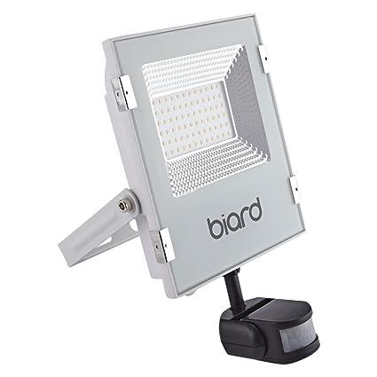 Faro Foco Proyector Biard Extra Plano LED de Seguridad IP65 Blanco 30W con Sensor de Movimiento
