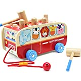 Wood Pounding Bench Pull Along Animal Bus Toys Christmas Gifts Early Educational Development for Toddlers Preschool Kids (Animal Bus)
