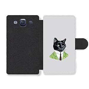 Black Cat in Green Suit Illustration Funny Hipster Illustration Funda Cuero Sintético para Samsung Galaxy S3