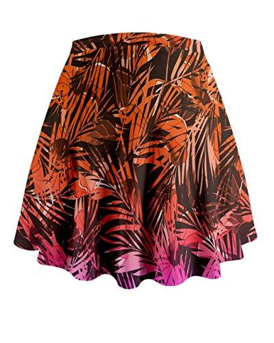 Cowcow Mujer exótica Hawaii Flores Mini Flare falda Orange Purple