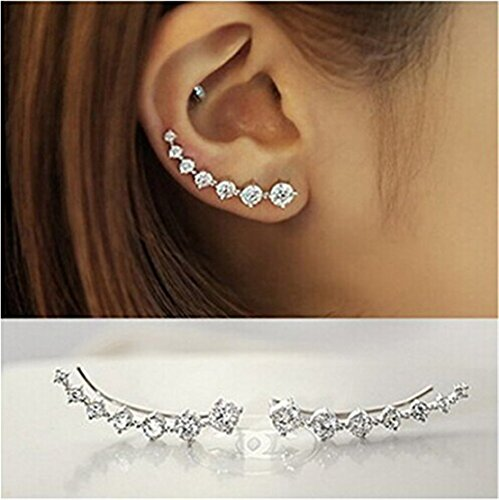 Zhiwen 7 Crystals Ear Cuffs Hoop Climber Cz Rhinestone 925 Sterling Silver Earrings Hypoallergenic Earring ()