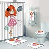 PRUNUSHOME 5-piece Bathroom Set-Includes Shower Curtain Liner,shopp girl children for school books and more separate objects romantic Print Bathroom Rugs Shower Curtain/Bath Towls Sets(Small)