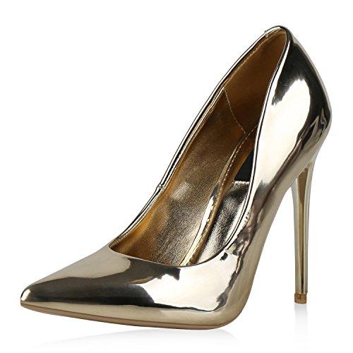 Jennika Heels Damen Optik Hochzeit Schuhe Lackleder Gold Pumps Stiletto Partyschuhe High Metallic Lack Spitze w71IqA