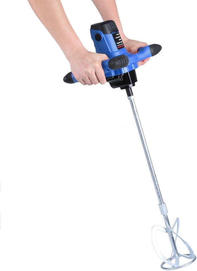 Agitador de Mortero con 6 Velocidades 930r//min azul Poncherish Mezcladora de Mortero 220V 1900W Batidor de Pintura y Mortero