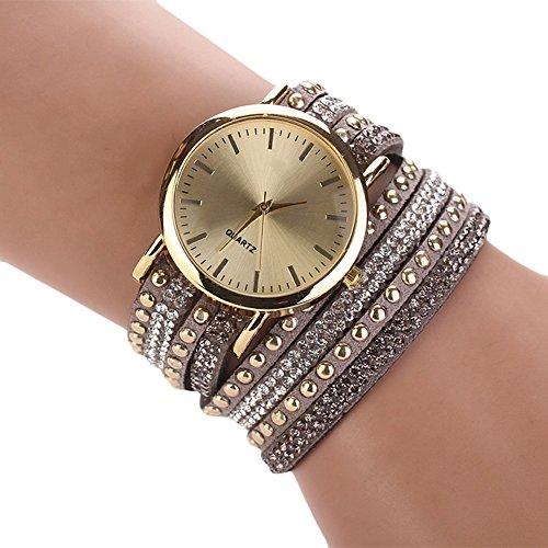 Sommer Luxusfreizeit Dame Quarz Armbanduhr Uhr Goldarmband (Gray)