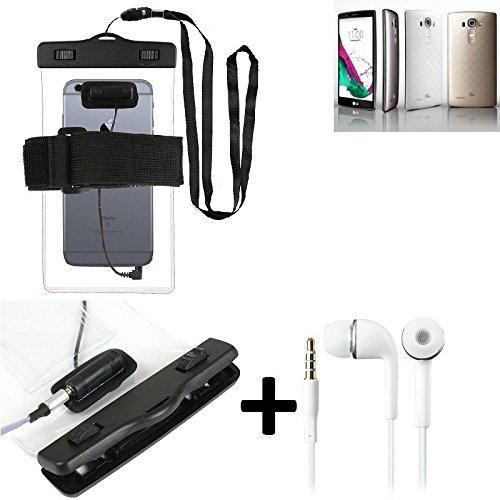 Estuche estanco al agua con entrada de auriculares para LG Electronics G4 + auricular incluido, transparente | Trotar bolsa de playa al aire libre caja brazalete del teléfono caso de cáscara bajo play