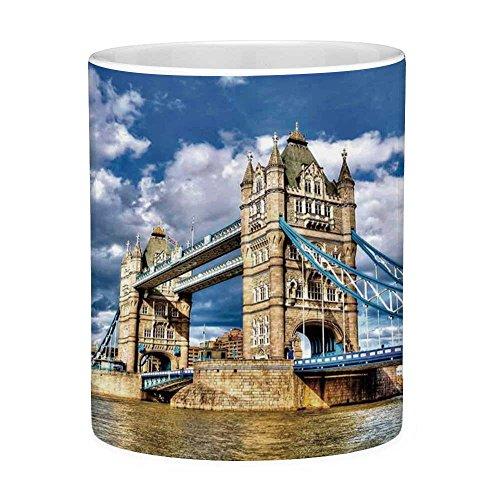 Lead Free Ceramic Coffee Mug Tea Cup White London 11 Ounces Funny Coffee Mug Historical Tower Bridge on River London UK British Day Time International Heritage Decorative Multicolor