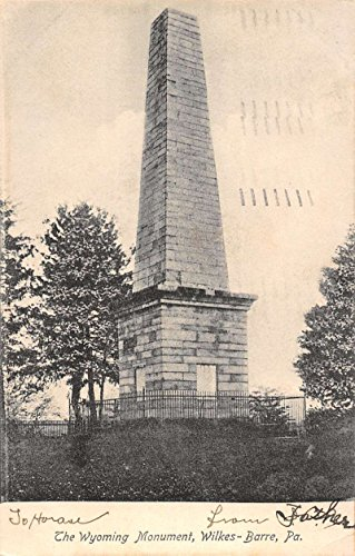Wilkes-Barre Pennsylvania birds eye view Wyoming Monument antique pc Z21929