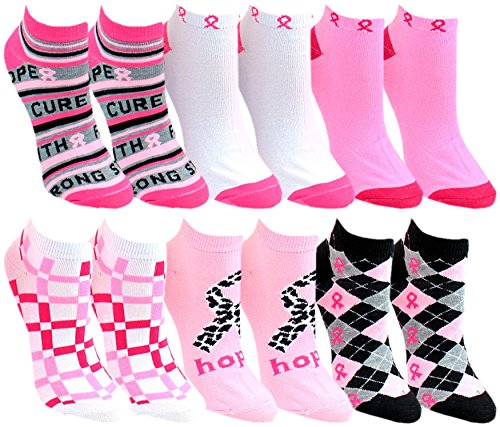 12 Pairs of Womens Breast Cancer Awareness Ankle Socks, Athletic Sport Sock (12 Pairs Assorted) Pink Breast Cancer Awareness