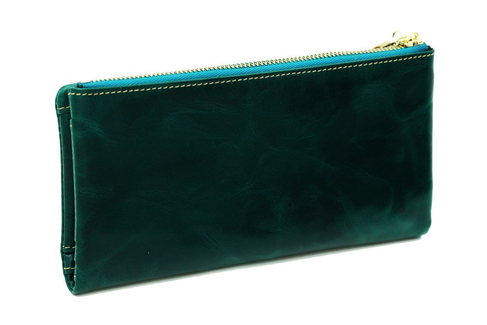 Luxury Fshion Women\'s Genuine Leather Long Zipper Wallet Ladies Clutch Purse Green