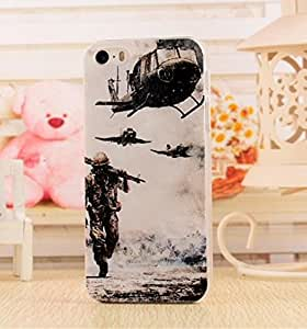 Fashion and Cute Series 3D Relief Sculpture Apple iphone 5 iphone 5g iphone 5s Case Hard Plastic Personality Pattern Back Cover with Clear Frame - soldier and plane