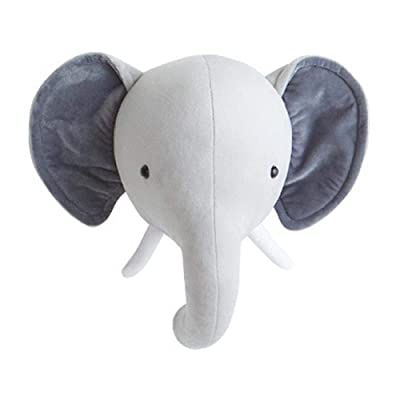 Jungle Safari Animals Head Wall Mount Decor Elephant Bunny Head Wall Ornaments Wall Hanging Mount Stuffed Plush Toy Princess Doll Girl Baby Kid Gift Nursery Room Wall Decor: Toys & Games [5Bkhe1206239]