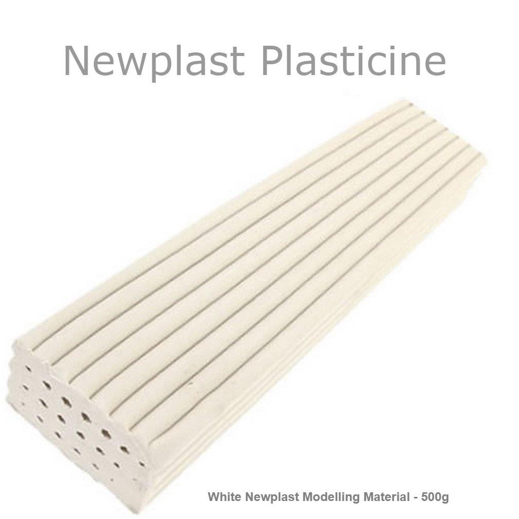 White Newplast Plasticine Modelling Clay Non Toxic Moulding Material Animators Choice Non Hardening Bar (1 Block - 500g) Newclay