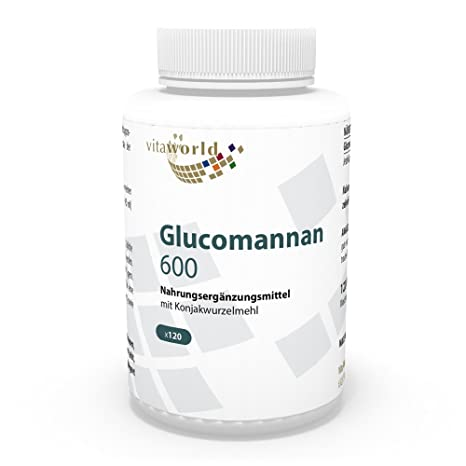 Glucomanano 600mg 120 Cápsulas Vegetales Harina de Konjac Vita World Farmacia Alemania
