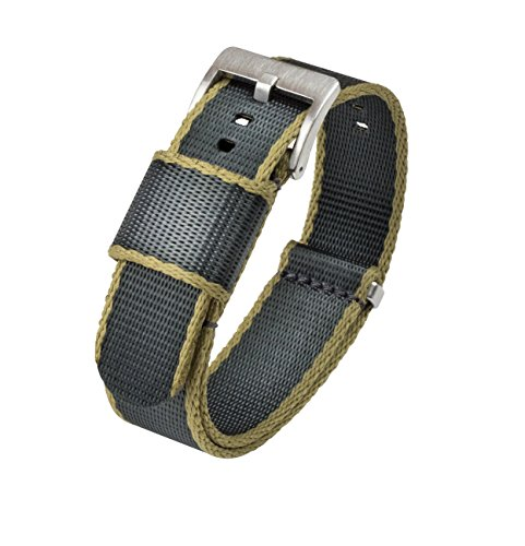 - Barton Jetson NATO Style Watch Strap - 18mm 20mm 22mm or 24mm - Slate Grey/Tan Edges 20mm Nylon Watch Band