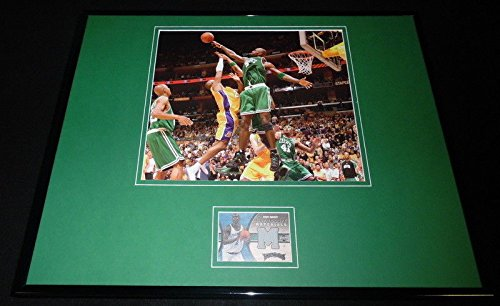 Kevin Garnett 16x20 Framed Game Used Shooting Shirt & Photo Display Celtics UDA