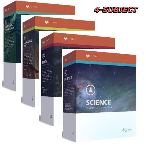 LifePac, Grade 7, AOP 4-Subject Box Set (Math, Language, Science & History / Geography, Alpha Omega, 7TH GRADE, HomeSchooling CURRICULUM, New Life Pac by Alpha Omega Publications