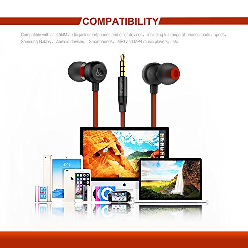 Earphones Cloudio J1 Noise Cancelling Earbuds In Ear Headphones With Microphone Noise Isolating Earbuds Sports Headphones Super Bass Earbuds For iPhone Android Phone iPad Tablet Laptop(Black) - Image 3