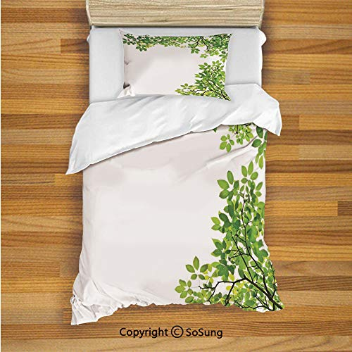 Organic Flannelette - Leaves Kids Duvet Cover Set Twin Size, Broad Leaves Close up Background Garden Organic Foliage Shrubs Cells Plant Image 2 Piece Bedding Set with 1 Pillow Sham,Green White