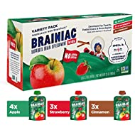 Brainiac Kids Applesauce Pouches, Variety Pack, 3.2 Ounce (10 Count), With BrainPack - Omega 3 DHA, Omega 3 EPA and Choline, Gluten Free, Non GMO, BPA Free