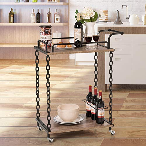 Giantex Bar Cart 2-Tier Chain Style Serving W/Handle and 3 Wine Bottle Racks, Universal Caster Wheels, Stable Metal Frames for Kitchen Dining Room Furniture Commercial or Home Use Wine Cart (Brown)