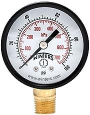 "Winters PEM Series Steel Dual Scale Economical All Purpose Pressure Gauge with Brass Internals, 0-100 psi/kpa, 2"" Dial Display, -3-2-3% Accuracy, 1/4"" NPT Bottom Mount"