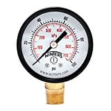 "Winters PEM Series Steel Dual Scale Economical All Purpose Pressure Gauge with Brass Internals, 0-100 psi/kpa, 2"" Dial Display, -3-2-3% Accuracy, 1/4"" NPT Bottom Mount"