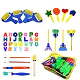 48pcs Kids Art & Craft Early Learning Painting Sponges Stamper Mini Paint Brushes Kit with 26 English Alphabets Drawing Tools (with Bag)