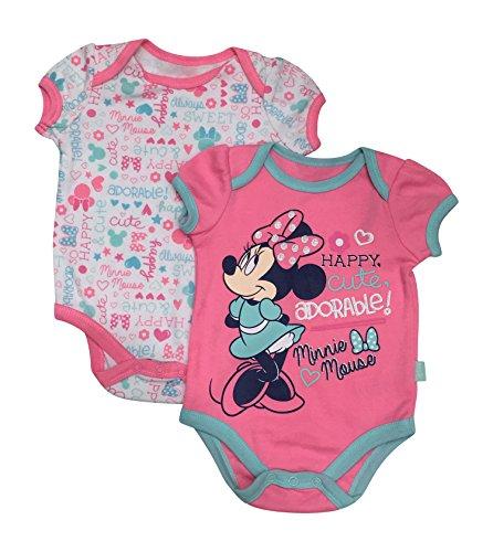 Minnie Mouse Disney Happy Cute Adorable Baby 2 Pack Bodysuit Set 0-9 Months (6/9 Months)