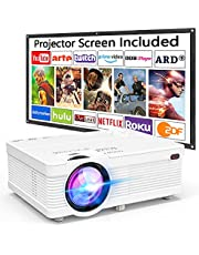 """Portable Mini Projector with 100"""" Projector Screen, 6500Lumens 1080P Supported Projector Full HD Compatible with Smartphone, TV Stick, Games, HDMI, AV, Projector for Outdoor Movies"""