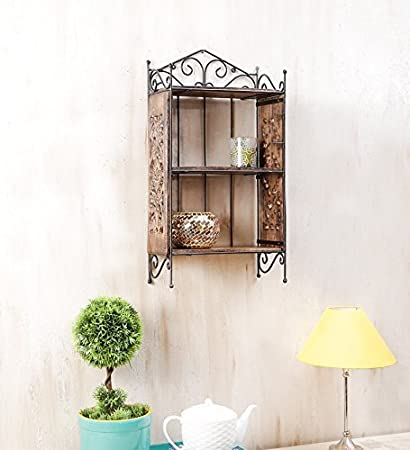 Woodkartindia Iron Wood Wall Shelf Book Shelf Home Decor Shelf
