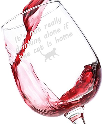 If The Cat Is Home Funny Wine Glass - Best Birthday Gifts For Pet Lover or Owner - Unique Gift For Men and Women Him or Her - Cute Christmas Present Idea For a Mom, Dad, Girlfriend, Boyfriend, Friend (Xmas Wine Gifts)